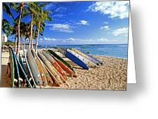 Colorful Surfboards On Waikiki Beach Greeting Card