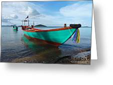 Colorful Turquoise Boat Near The Cambodia Vietnam Border Greeting Card