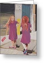 Colorful Twins Greeting Card