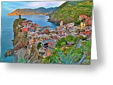 Colorful Vernazza From Behind Greeting Card