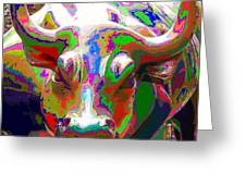 Colorful Wall Street Bull Greeting Card