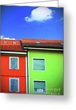 Colorful Walls And A Cloud Greeting Card