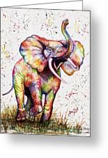 Colorful Watercolor Elephant Greeting Card