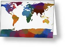 Colorful World Map Greeting Card