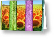Colorfull Tree Trunks In Thefield. Abstract Psychedelic Colors Greeting Card