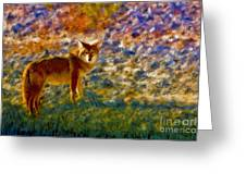 Colorized Death Valley Coyote Greeting Card