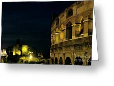 Colosseum Illuminated At Night And The Forums Greeting Card