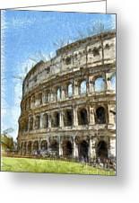 Colosseum Or Coliseum Pencil Greeting Card