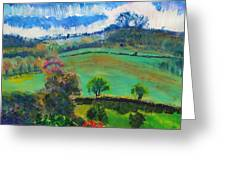 Colourful English Devon Landscape - Early Evening In The Valley Greeting Card