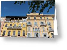 Colourful Facade Of Traditional Buildings In Como, Italy Greeting Card
