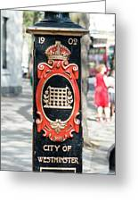 Colourful Lamp Post With The City Of Westminster Coat Of Arms London Greeting Card