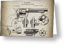 Colt .45 Peacemaker Revolver Patent  1875 Greeting Card