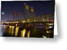 Columbia Crossing I-5 Interstate Bridge At Night Greeting Card