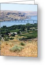 Columbia River And Biggs Bridge Greeting Card