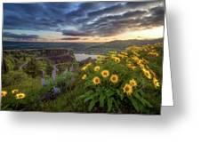 Columbia River Gorge Sunrise Greeting Card