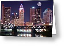 Columbus By Moonlight Greeting Card