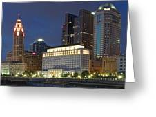Columbus Night Panorama Greeting Card