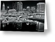 Columbus Ohio Black And White Greeting Card