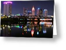 Columbus Ohio Reflecting In The Scioto River Greeting Card