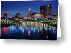 Columbus Ohio Skyline At Night Greeting Card