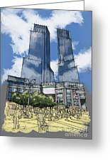 Columbus Square New York City Handmade Sketch Greeting Card