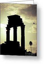 Column Sunset Temple Of Castor And Pollux In The Forum Rome Italy Greeting Card