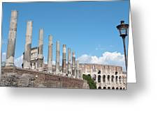 Columns Colosseum And Lamppost Greeting Card