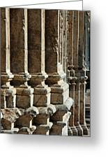 Columns Creating The Facade Of A Gothic-style Church Greeting Card