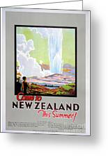 Come To New Zealand Vintage Travel Poster Greeting Card