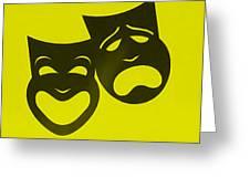 Comedy N Tragedy Neg Yellow Greeting Card