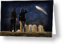 Comet Over The City Greeting Card