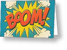 Comic Boom On Blue Greeting Card