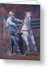 Comin At Ya      Calf Roping Painting Greeting Card
