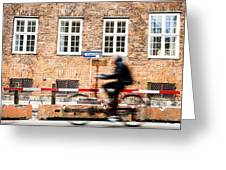 Commuter Going To Work By Cycle In Copenhagen Greeting Card