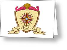 Compass Navigator Coat Of Arms Crest Retro Greeting Card