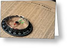 Compass On Stockmarket Cotation In Newspaper Greeting Card