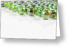Composition With Green Marbles On White Background Greeting Card