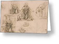 Compositional Sketches For The Virgin Adoring The Christ Child Greeting Card