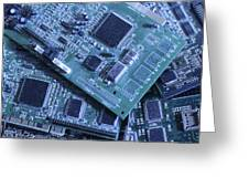 Computer Boards And Chips Lie In A Pile Greeting Card