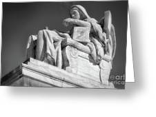 Comtemplation Of Justice 1 Bw Greeting Card