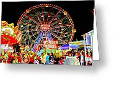 Coney Island Magic In Neon Greeting Card