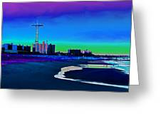 Coney Island Parachute Jump And Beach Greeting Card