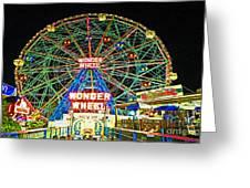 Coney Island's Wonderous Wonder Wheel In Neon Greeting Card
