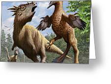 Confrontation Between Pectinodon Greeting Card