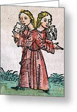Conjoined Twins, Nuremberg Chronicle Greeting Card