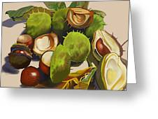Conkers Greeting Card by Jane Tomlinson
