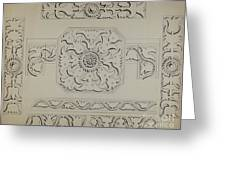 Connecticut-type Hadley Chest-detail Of Central Panel Greeting Card