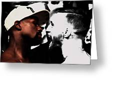 Conor Mcgregor And Floyd Mayweather Face Off  Greeting Card