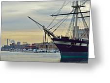 Uss Constellation And Domino Sugars - Sloop Of War Warship In Baltimore's Inner Harbor - Us Navy Greeting Card