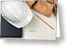Construction Contractor Tools Resting On Top Of Blue Print Cad D Greeting Card